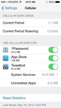 iOs 7 Data Usage Tracker